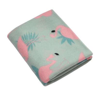 Плед Фламинго 130х170 см флис цвет розовый