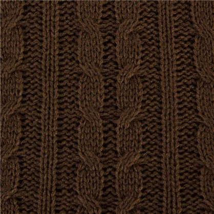 Плед вязаный тонкий 150х200 см цвет коричневый