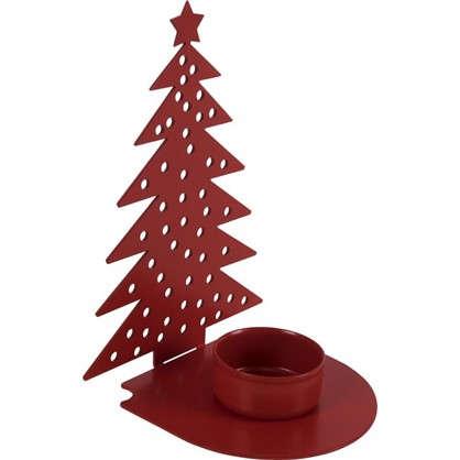 Подсвечник для чайной свечи Ёлочка цвет красный
