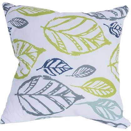 Купить Подушка декоративная 40х40 см текстура листья цвет белый дешевле