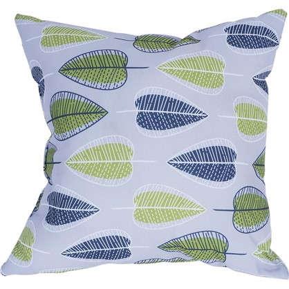 Купить Подушка декоративная 40х40 см текстура листья цвет серый дешевле