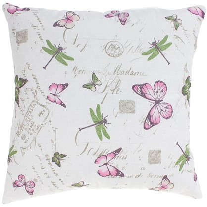 Купить Подушка декоративная Бабочки 40х40 см цвет розовый дешевле