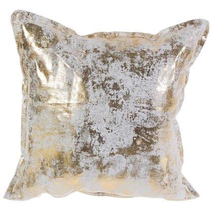 Подушка Лен 40х40 см патина цвет золотой