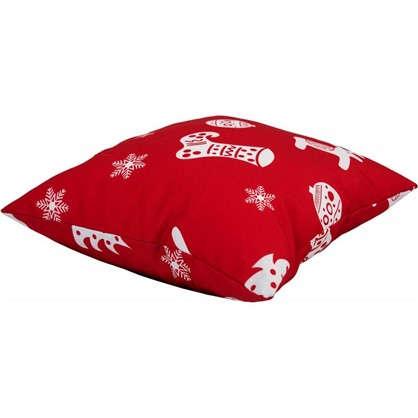 Подушка Новый год 40х40 см цвет красный