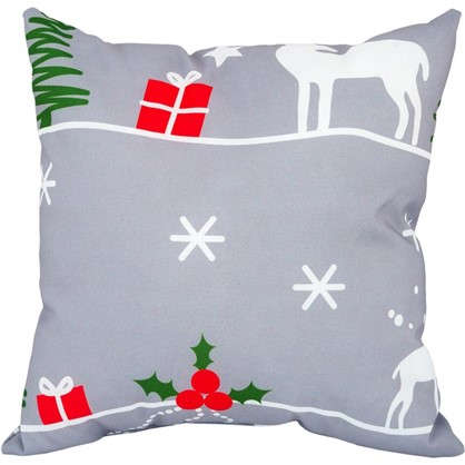 Купить Подушка Новый год 40х40 см цвет серый дешевле