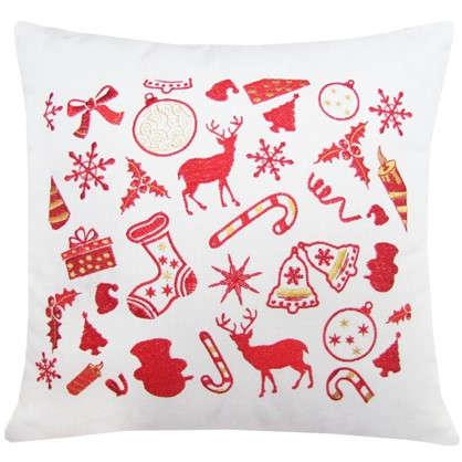 Купить Подушка Новогодние подарки 40х40 цвет красный дешевле