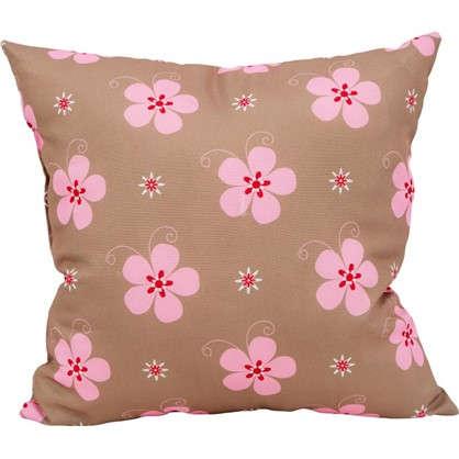 Подушка Розовые цветы 40х40 см цвет розовый