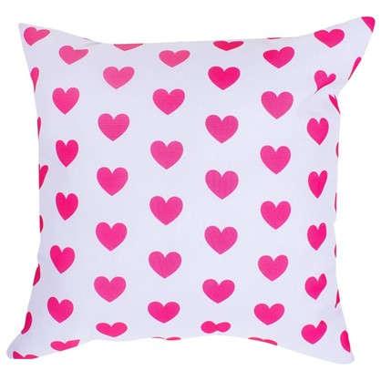Подушка Сердечки 40х40 см цвет малиновый