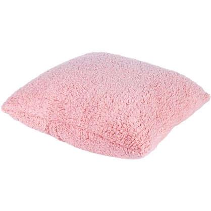 Купить Подушка Шерпа 45х45 см цвет розовый дешевле
