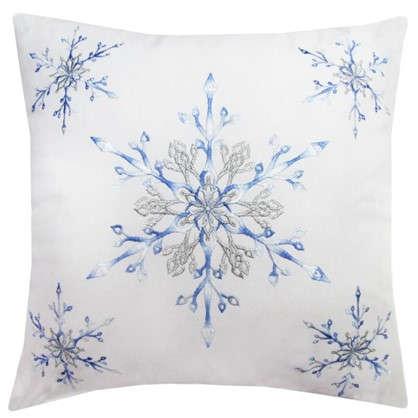 Подушка Снежинки 40х40 цвет голубой