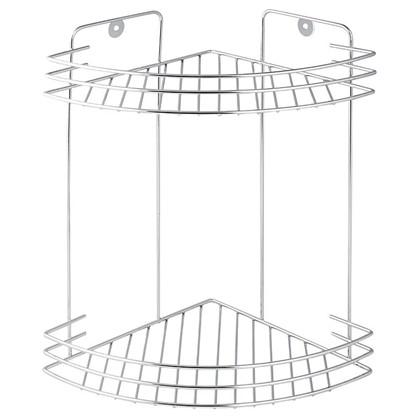 Полка для ванной комнаты Аквалиния двухъярусная угловая металл