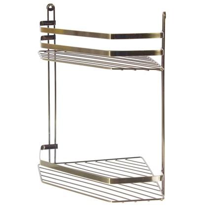 Купить Полка для ванной комнаты Антик двухъярусная угловая цвет бронза дешевле