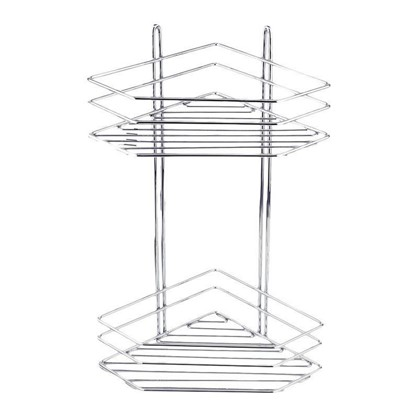 Полка для ванной комнаты двухъярусная угловая хром