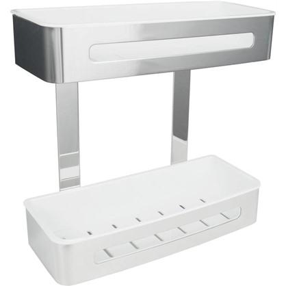 Полка для ванной комнаты Royal двухъярусная прямая 29х12.3х29 см сталь