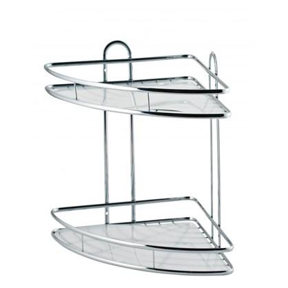 Купить Полка для ванной комнаты Swensa двухъярусная угловая металл дешевле