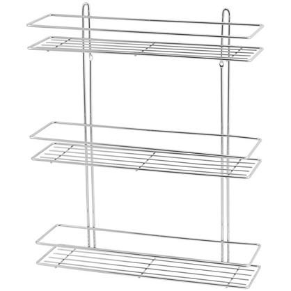 Полка для ванной комнаты Swensa SWR-023 трёхъярусная прямая металл