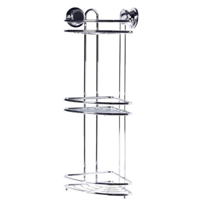 Полка для ванной комнаты Vacuum Screw угловая трёхъярусная сталь