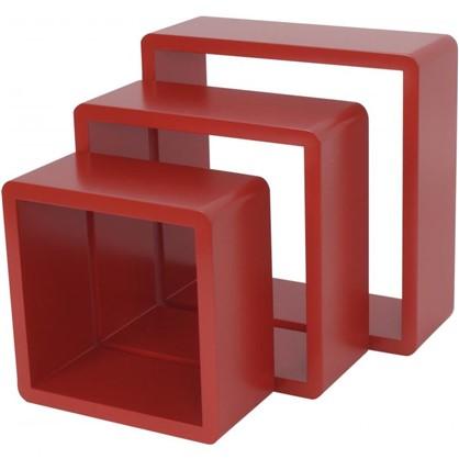 Полка кубическая 20х10 см/24х10 см/28х10 см цвет красный 3 шт.