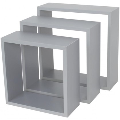Полка кубическая 20х10 см/24х10 см/28х10 см цвет серый 3 шт.
