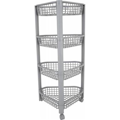 Купить Полка угловая 38 см четырёхъярусная цвет серый дешевле