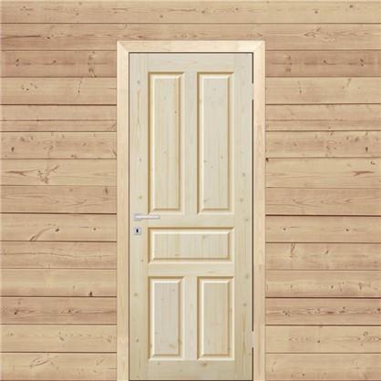 Полотно дверное глухое Кантри 80x200 см массив хвои цвет натуральный
