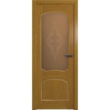 Полотно дверное остеклённое Helly 90x200 см шпон цвет тонированный дуб