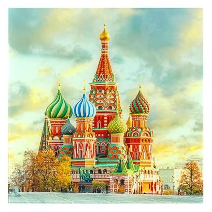 Постер на стекле 40х40 см Собор Василия Блаженного