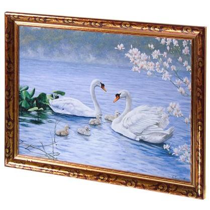 Постер в раме 30х40 см Пара лебедей