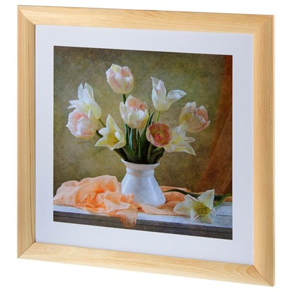 Купить Постер в раме 40х40 см Белые тюльпаны дешевле
