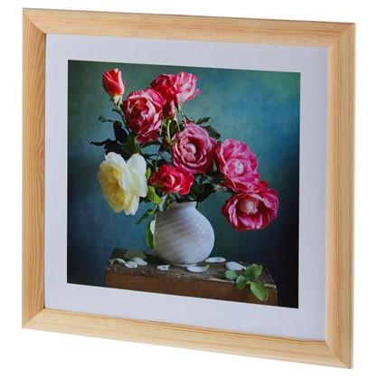 Купить Постер в раме 40х40 см Розы в вазе дешевле