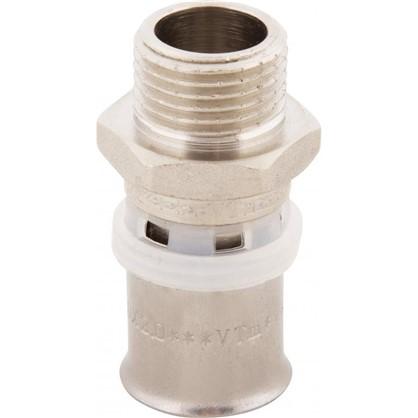 Пресс-муфта переходник наружная резьба 20х1/2 мм никелированная латунь
