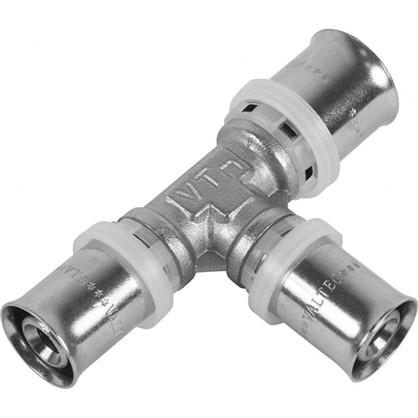 Пресс-тройник 20х16х16 мм никелированная латунь
