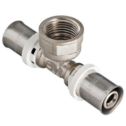 Пресс-тройник переходник внутренняя резьба 26х3/4х26 мм никелированная латунь