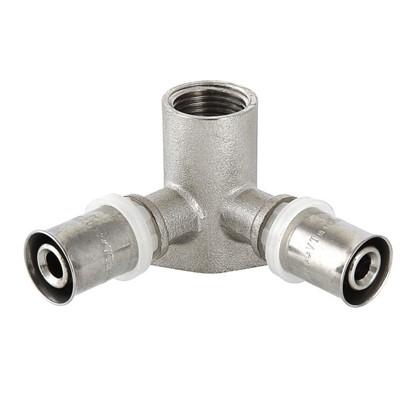 Пресс-тройник внутренняя резьба 20х1/2х20 мм никелированная латунь