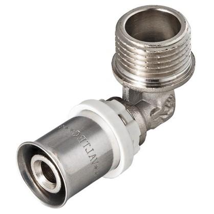 Пресс-угольник наружная резьба 20х1/2 мм никелированная латунь