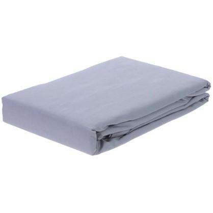 Купить Простыня двуспальная PEARL BLUE сатин 210х220 см дешевле