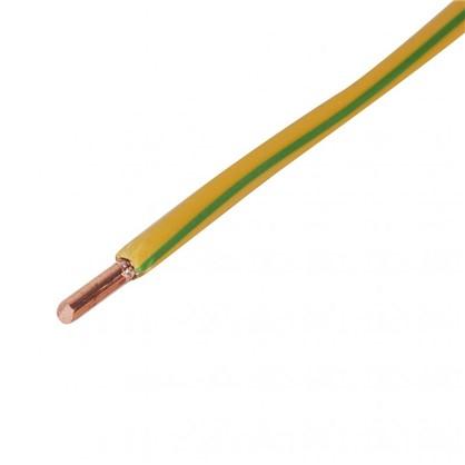 Провод ПуВ 1х6 мм на отрез цвет жёлтый зеленый
