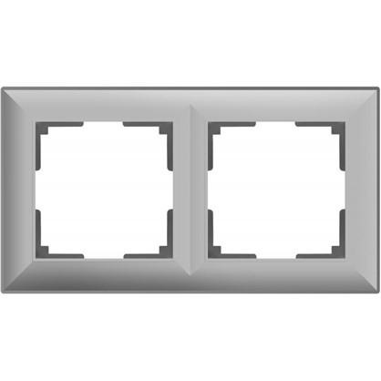 Рамка 2 поста цвет серебряный