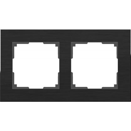 Рамка Aluminium 2 поста цвет чёрный алюминий