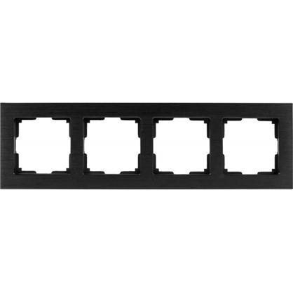Рамка Aluminium 4 поста цвет чёрный алюминий