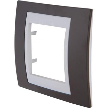 Рамка для розеток и выключателей 1 пост цвет какао/белый