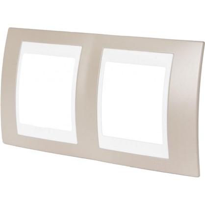 Рамка для розеток и выключателей 2 поста цвет коричневый/белый