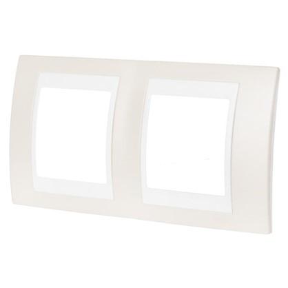 Купить Рамка для розеток и выключателей 2 поста цвет песчаный/белый дешевле