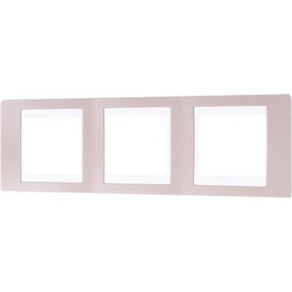 Рамка для розеток и выключателей 3 поста цвет коричневый/белый