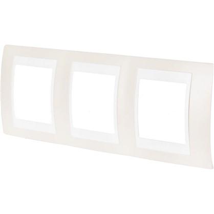 Рамка для розеток и выключателей 3 поста цвет песчаный/белый