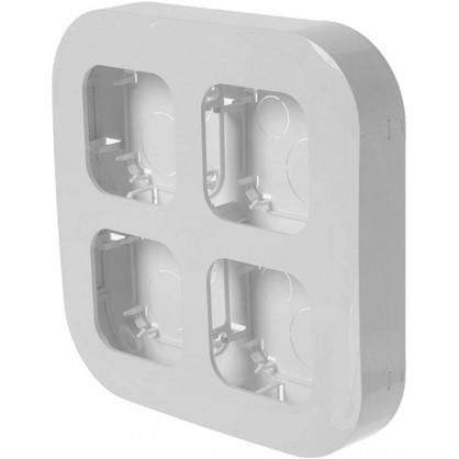 Рамка для розеток и выключателей 4 поста накладная цвет белый