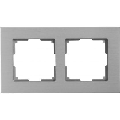 Купить Рамка для розеток и выключателей Aluminium 2 поста цвет металл дешевле