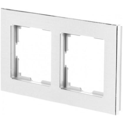 Рамка для розеток и выключателей Aluminium 2 поста цвет металл
