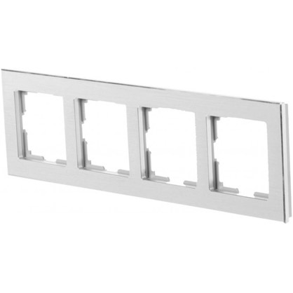 Рамка для розеток и выключателей Aluminium 4 поста цвет металл