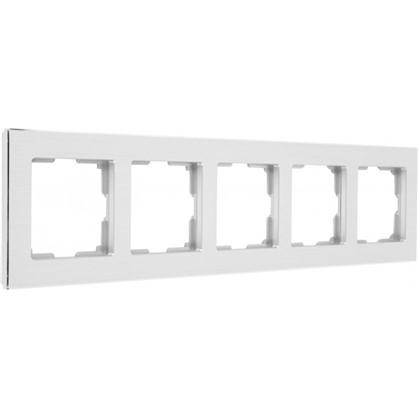 Рамка для розеток и выключателей Aluminium 5 постов цвет металл
